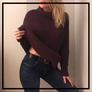 AEO Aerie Chunky Maroon Knit Sweater